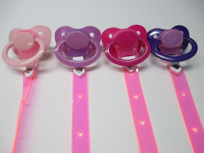 Vegan Friendly PVC AB/DL, , Paci Holder clip straps with combo coloured Adult paci,